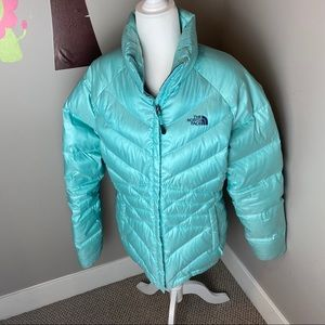 THE NORTH FACE LIGHT BLUE 550 FILL PUFFER JACKET